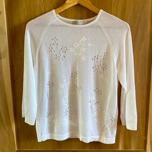 Vintage Off-White Sheer Floral 3/4 Sleeve Sweater